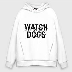 Толстовка оверсайз мужская Watch Dogs цвета белый — фото 1