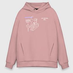 Толстовка оверсайз мужская SAYONARA BOY цвета пыльно-розовый — фото 1