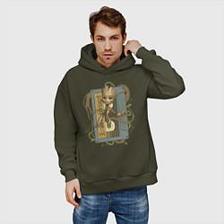 Толстовка оверсайз мужская Groot цвета хаки — фото 2