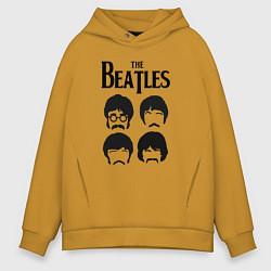 Толстовка оверсайз мужская The Beatles Liverpool Four цвета горчичный — фото 1