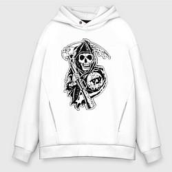 Толстовка оверсайз мужская Sons Of Anarchy: Death цвета белый — фото 1