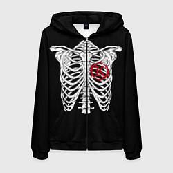 Толстовка 3D на молнии мужская Кукрыниксы: Скелет цвета 3D-черный — фото 1