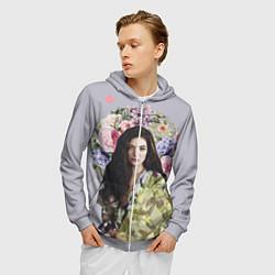 Толстовка 3D на молнии мужская Lorde Floral цвета 3D-меланж — фото 2