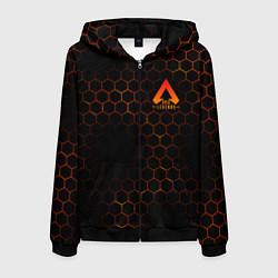 Толстовка 3D на молнии мужская Apex Legends: Orange Carbon цвета 3D-черный — фото 1