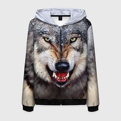 Толстовка 3D на молнии мужская Взгляд волка цвета 3D-черный — фото 1