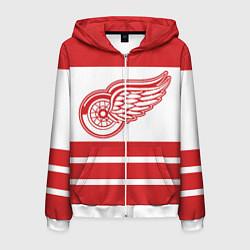 Толстовка 3D на молнии мужская Detroit Red Wings цвета 3D-белый — фото 1