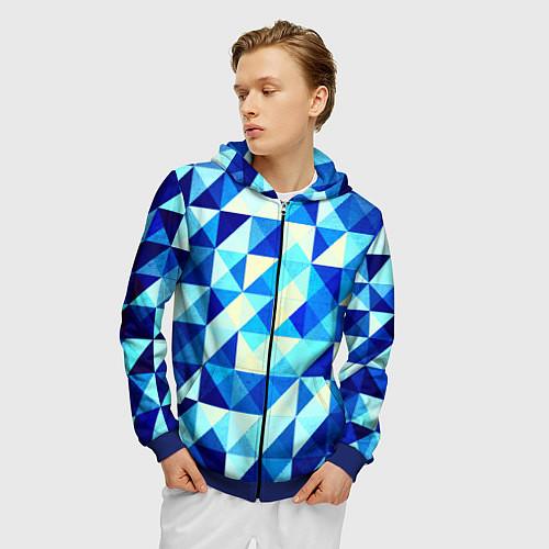 Мужская толстовка на молнии Синяя геометрия / 3D-Синий – фото 3
