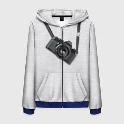 Толстовка 3D на молнии мужская Фотоаппарат на груди цвета 3D-синий — фото 1