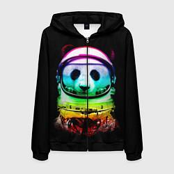 Толстовка 3D на молнии мужская Панда космонавт цвета 3D-черный — фото 1