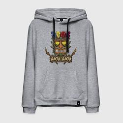 Толстовка-худи хлопковая мужская Aku-Aku (Crash Bandicoot) цвета меланж — фото 1
