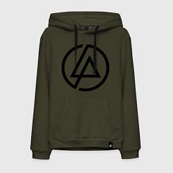 Толстовка-худи хлопковая мужская Linkin Park: Sybmol цвета хаки — фото 1