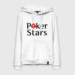 Толстовка-худи хлопковая мужская Poker Stars цвета белый — фото 1