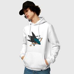 Толстовка-худи хлопковая мужская San Jose Sharks цвета белый — фото 2