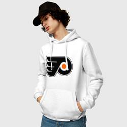 Толстовка-худи хлопковая мужская Philadelphia Flyers цвета белый — фото 2