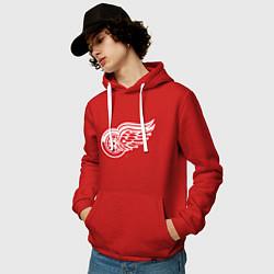 Толстовка-худи хлопковая мужская Detroit Red Wings цвета красный — фото 2