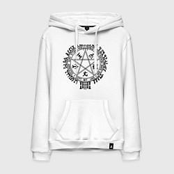Толстовка-худи хлопковая мужская Hellsing Pentagram цвета белый — фото 1