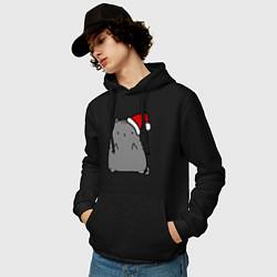 Толстовка-худи хлопковая мужская New Year Kitty FCK цвета черный — фото 2