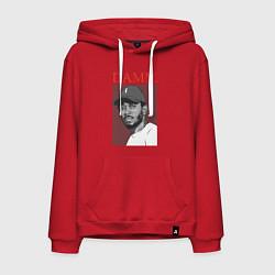Толстовка-худи хлопковая мужская Kendrick Lamar: DAMN цвета красный — фото 1