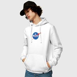 Толстовка-худи хлопковая мужская Elon Musk: To Mars цвета белый — фото 2