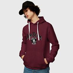 Толстовка-худи хлопковая мужская Jim Beam logo цвета меланж-бордовый — фото 2