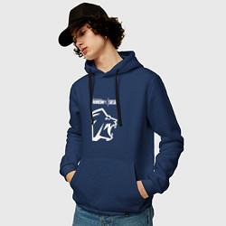 Толстовка-худи хлопковая мужская R6S Lion цвета тёмно-синий — фото 2