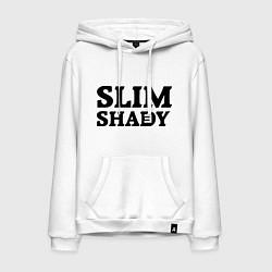 Толстовка-худи хлопковая мужская Slim Shady: Big E цвета белый — фото 1