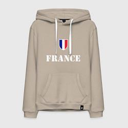 Толстовка-худи хлопковая мужская France цвета миндальный — фото 1