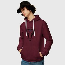 Толстовка-худи хлопковая мужская Fragile Express цвета меланж-бордовый — фото 2
