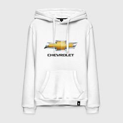 Толстовка-худи хлопковая мужская Chevrolet логотип цвета белый — фото 1