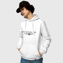 Толстовка-худи хлопковая мужская Chrysler logo цвета белый — фото 2