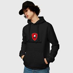 Толстовка-худи хлопковая мужская Logo lamborghini цвета черный — фото 2