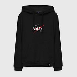 Толстовка-худи хлопковая мужская NASA: Space Arrow цвета черный — фото 1