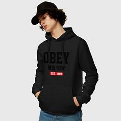 Толстовка-худи хлопковая мужская Obey Est. 1989 цвета черный — фото 2