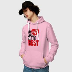 Толстовка-худи хлопковая мужская Wife says цвета светло-розовый — фото 2
