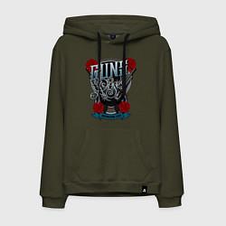 Толстовка-худи хлопковая мужская Guns n Roses: illustration цвета хаки — фото 1