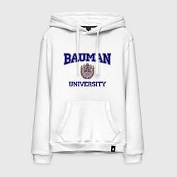 Толстовка-худи хлопковая мужская BAUMAN University цвета белый — фото 1
