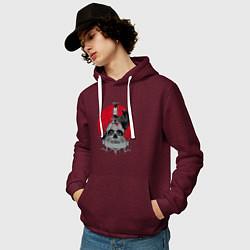 Толстовка-худи хлопковая мужская Ворон цвета меланж-бордовый — фото 2