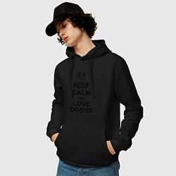 Толстовка-худи хлопковая мужская Keep Calm & Love Dodge цвета черный — фото 2