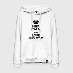 Толстовка-худи хлопковая мужская Keep Calm & Love Harry Styles цвета белый — фото 1