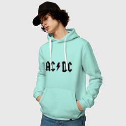 Толстовка-худи хлопковая мужская AC/DC цвета мятный — фото 2