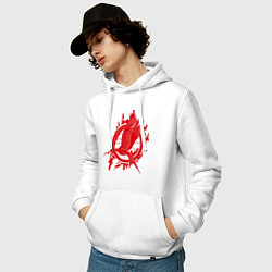 Толстовка-худи хлопковая мужская Пламенная птица цвета белый — фото 2