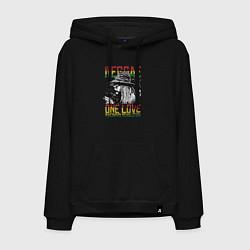 Толстовка-худи хлопковая мужская Регги цвета черный — фото 1