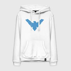 Толстовка-худи хлопковая мужская Nightwing цвета белый — фото 1