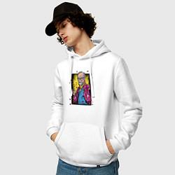 Толстовка-худи хлопковая мужская Зигмунд Фрейд цвета белый — фото 2