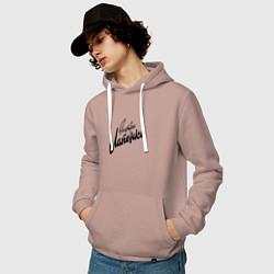 Толстовка-худи хлопковая мужская Внутри Лапенко цвета пыльно-розовый — фото 2
