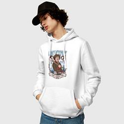 Толстовка-худи хлопковая мужская Санкт-Петербург цвета белый — фото 2