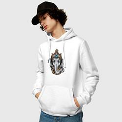 Толстовка-худи хлопковая мужская Ганеш цвета белый — фото 2