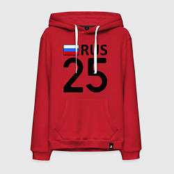 Толстовка-худи хлопковая мужская RUS 25 цвета красный — фото 1