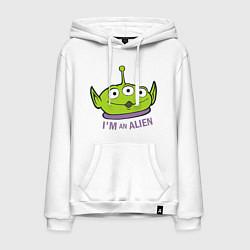 Толстовка-худи хлопковая мужская Im an alien цвета белый — фото 1