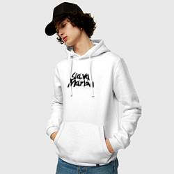 Толстовка-худи хлопковая мужская Slava Marlow цвета белый — фото 2